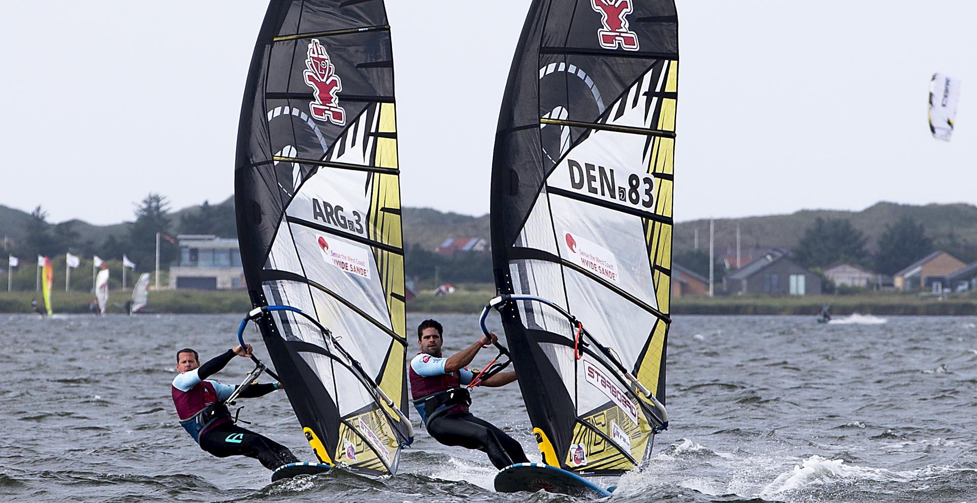 Kurosh Kiani windsurfing during world cup in Denmark