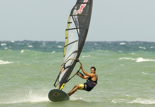 Kurosh Kiani windsurfing at full speed on Maui Hawaii