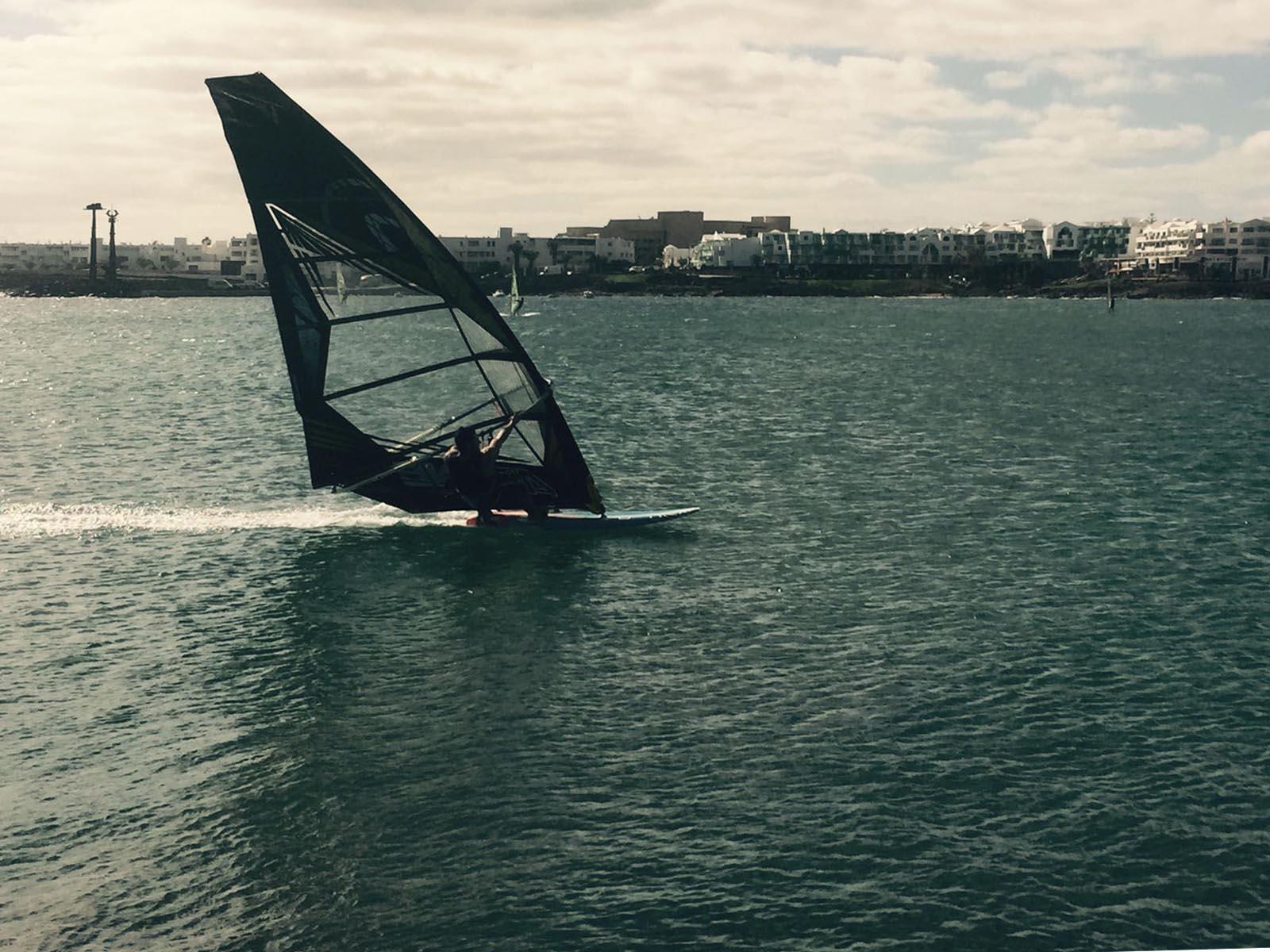 Kurosh Kiani at full speed windsurfing